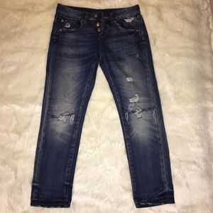 Zara High Rise Distressed Jeans